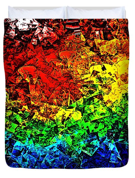 Duvet Cover featuring the digital art Rainbow Pieces by Bartz Johnson