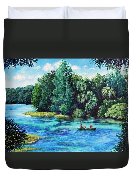 Rainbow River At Rainbow Springs Florida Duvet Cover by Penny Birch-Williams