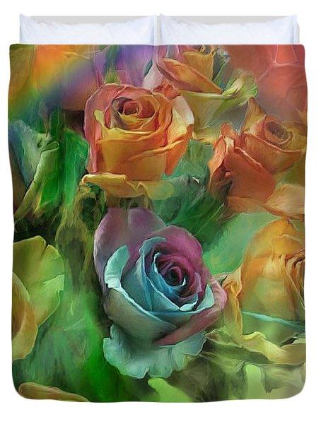 Rainbow Roses Duvet Cover by Carol Cavalaris