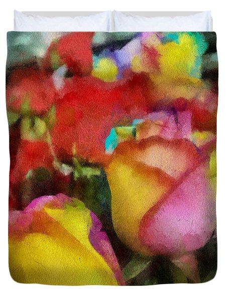 Rainbow Roses Watercolor Digital Painting Duvet Cover by Eti Reid
