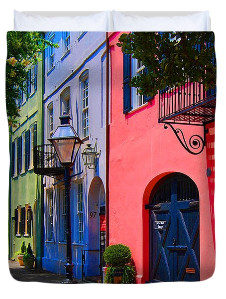 Rainbow Row Charleston Duvet Cover