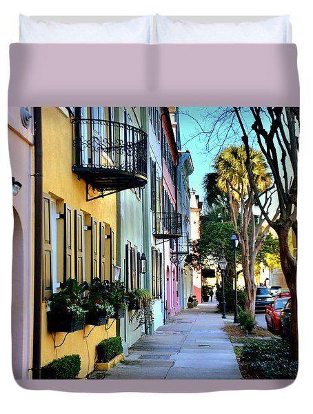 Rainbow Row Hdr Duvet Cover