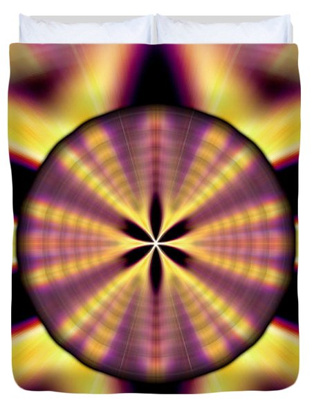 Duvet Cover featuring the drawing Rainbow Seed Of Life by Derek Gedney