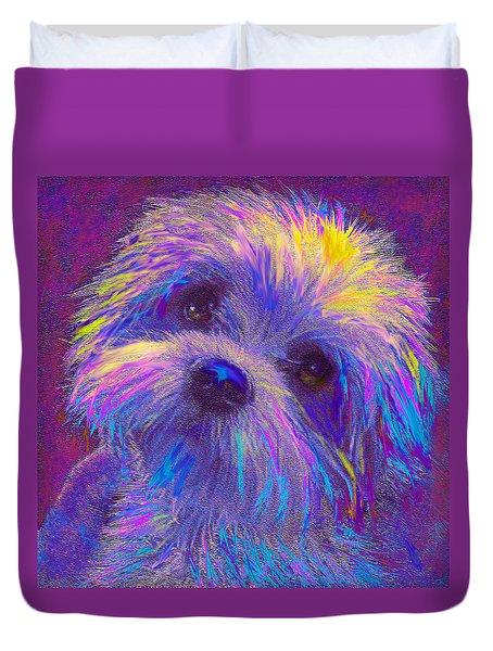 Rainbow Shih Tzu Duvet Cover by Jane Schnetlage
