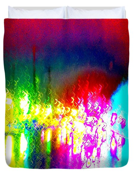Duvet Cover featuring the photograph Rainbow Splash Abstract by Marianne Dow