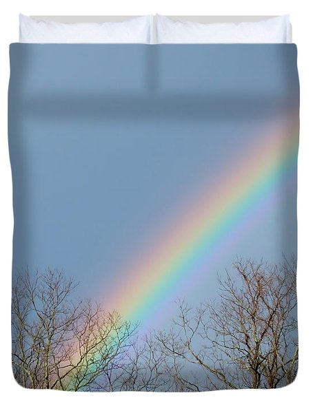 Duvet Cover featuring the photograph Rainbow Through The Tree Tops by Kristen Fox