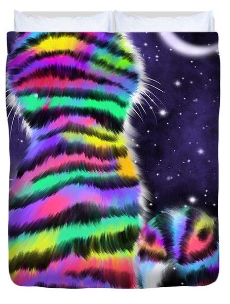 Rainbow Tiger Cat Duvet Cover