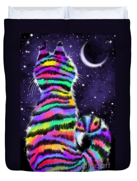 Rainbow Tiger Cat Duvet Cover