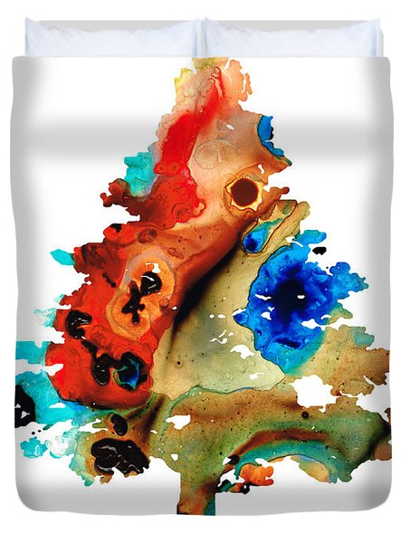 Rainbow Tree 2 - Colorful Abstract Tree Landscape Art Duvet Cover by Sharon Cummings