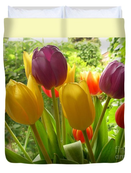 Rainbow Tulips  Duvet Cover