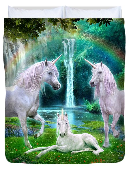 Rainbow Unicorn Family Duvet Cover