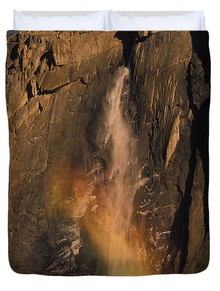 Rainbow, Upper Yosemite Falls Duvet Cover by Ron Sanford