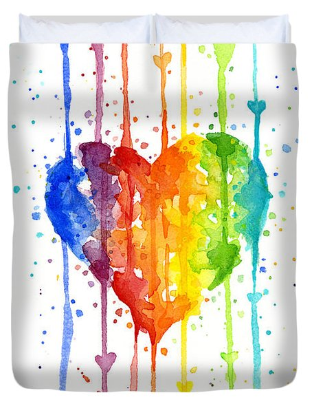 Rainbow Watercolor Heart Duvet Cover