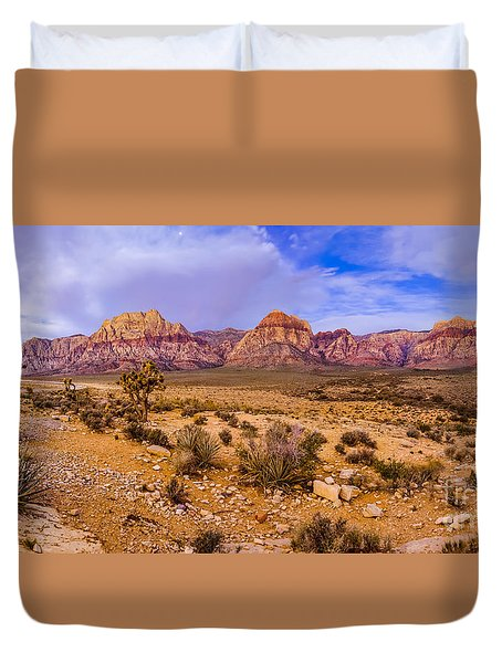 Rainbow Wilderness Panorama At Red Rock Canyon Before Sunrise - Las Vegas Nevada Duvet Cover