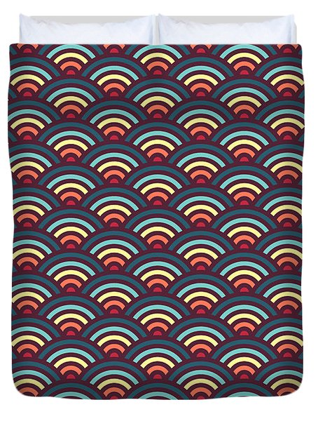 Rainbowaves Pattern Dark Duvet Cover