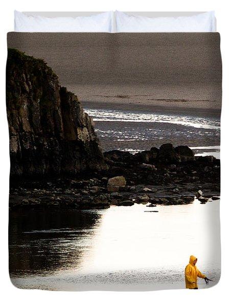 Raincoat Dog Walk Duvet Cover by John Daly