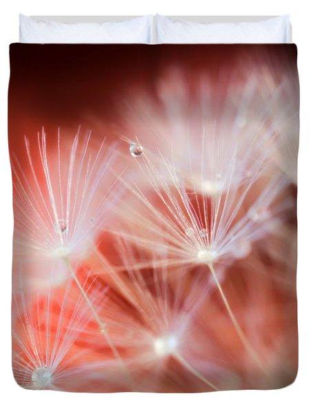 Raindrops On Dandelion Red Duvet Cover