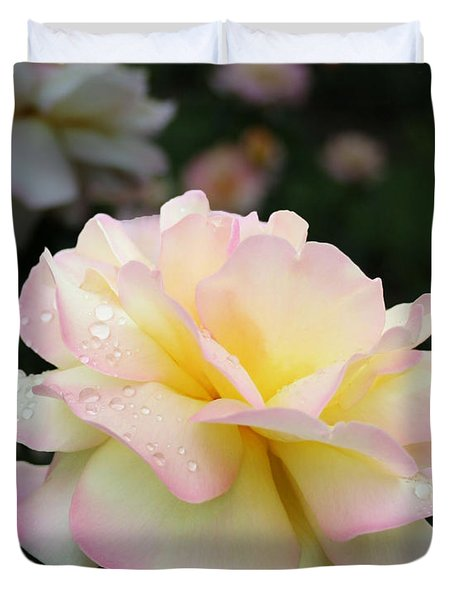 Duvet Cover featuring the photograph Raindrops On Rose Petals by Barbara McMahon