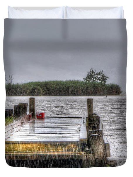 Duvet Cover featuring the photograph Rained Out by Charlotte Schafer
