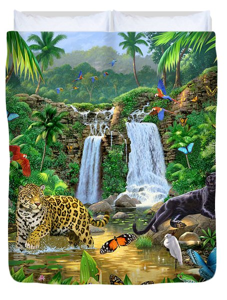 Rainforest Harmony Variant 1 Duvet Cover by Chris Heitt
