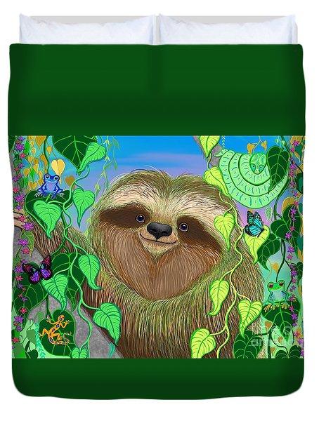 Rainforest Sloth Duvet Cover by Nick Gustafson