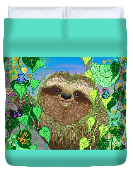 Rainforest Sloth Duvet Cover