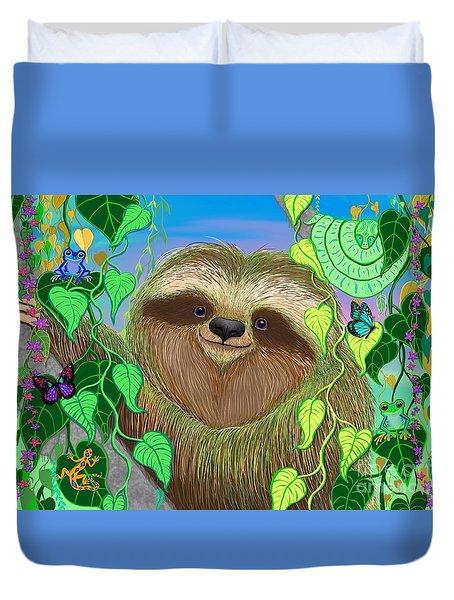 Rainforest Sloth Duvet Cover