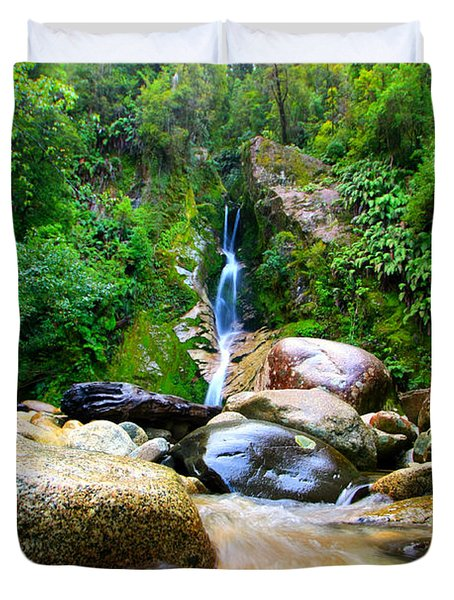 Duvet Cover featuring the photograph Rainforest Stream New Zealand by Amanda Stadther