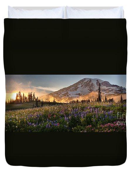 Rainier Golden Light Sunset Meadows Duvet Cover