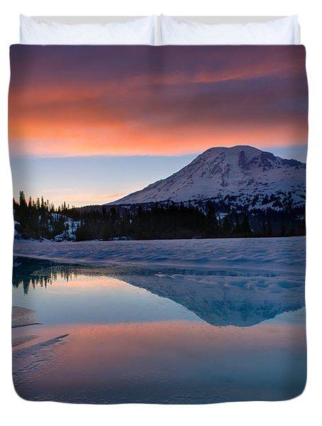 Rainier Snowbound Lake Sunset Skies Duvet Cover