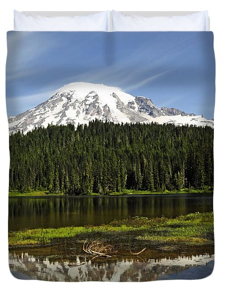 Duvet Cover featuring the photograph Rainier's Reflection by Tikvah's Hope