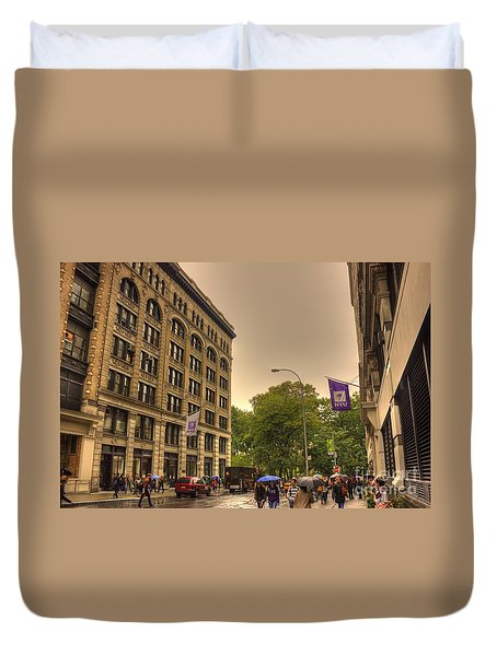 Raining At Nyu Duvet Cover