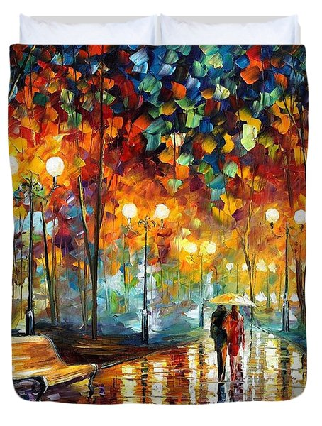 Rain's Rustle 2 - Palette Knife Oil Painting On Canvas By Leonid Afremov Duvet Cover