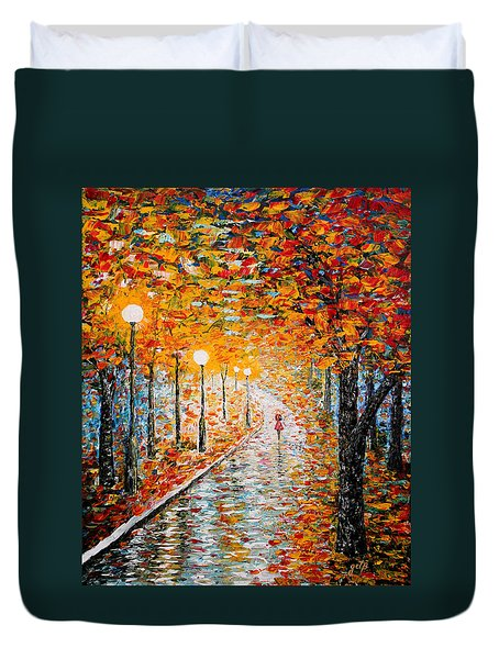 Duvet Cover featuring the painting Rainy Autumn Day Palette Knife Original by Georgeta  Blanaru