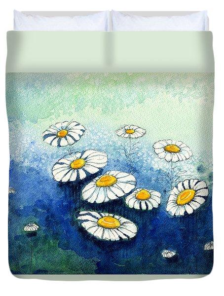 Rainy Daisies Duvet Cover