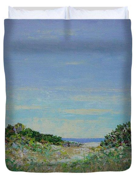 Rainy Day Beach Blues Duvet Cover