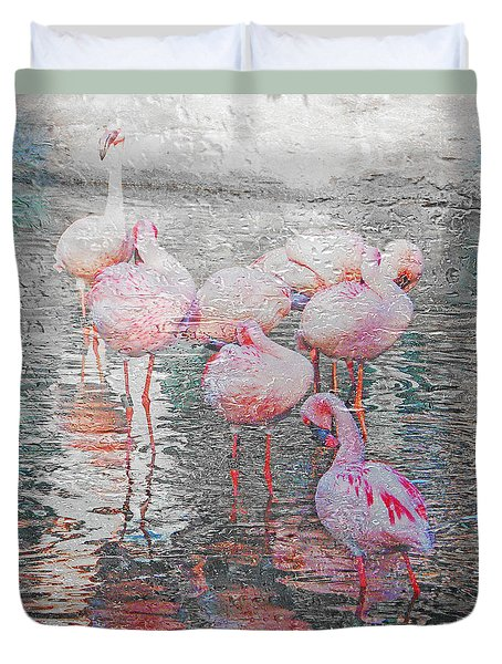 Rainy Day Flamingos Duvet Cover