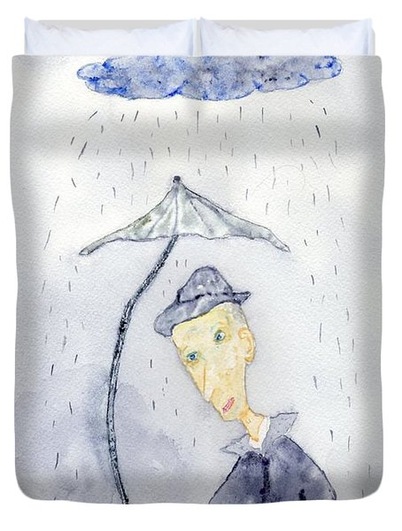 Rainy Day Man Duvet Cover