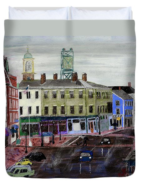 Rainy Day On Market Square Duvet Cover