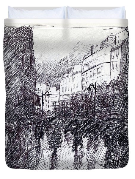 Rainy Day Paris Duvet Cover