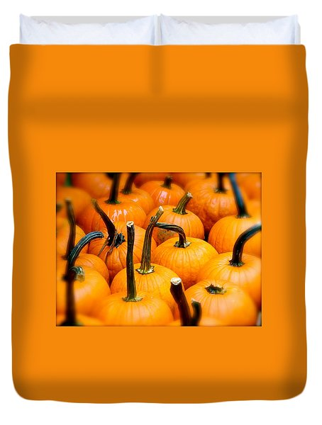 Duvet Cover featuring the photograph Rainy Day Pumpkins by Ira Shander