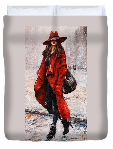 Rainy Day - Red And Black #2 Duvet Cover