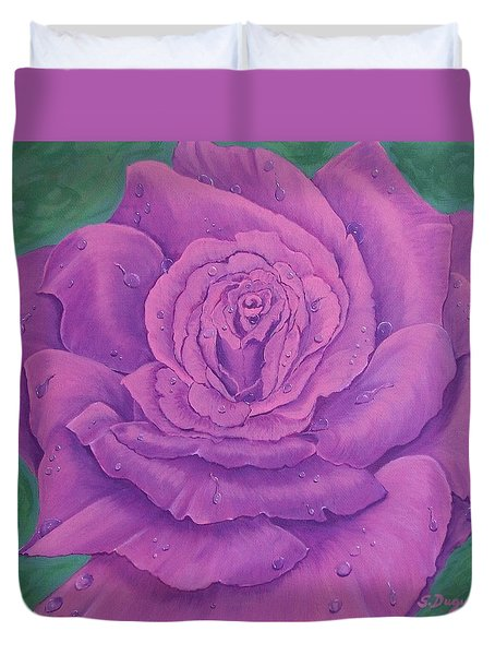 Rainy Day Rose Duvet Cover