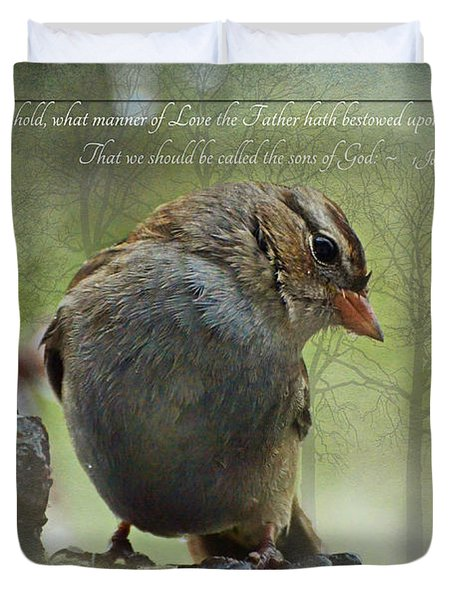 Rainy Day Sparrow With Verse Duvet Cover