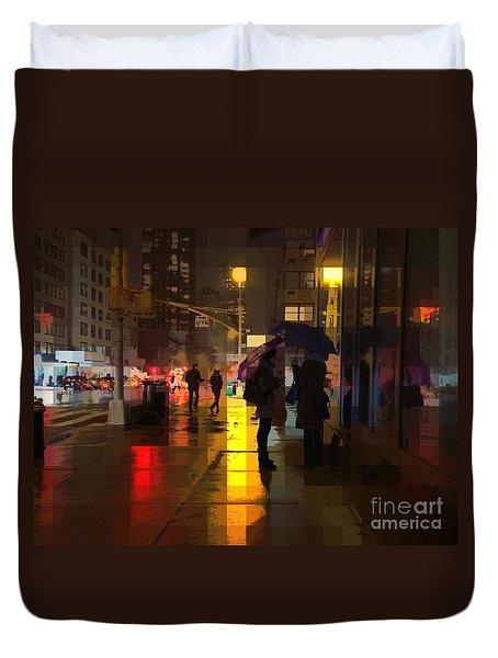 Rainy Night New York Duvet Cover by Miriam Danar