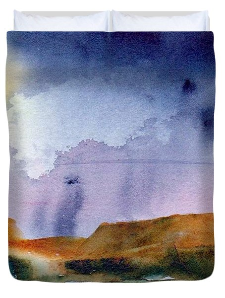 Duvet Cover featuring the painting Rainy Skies by Anne Duke