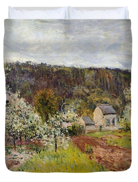 Rainy Spring Near Paris Duvet Cover by Alfred Sisley