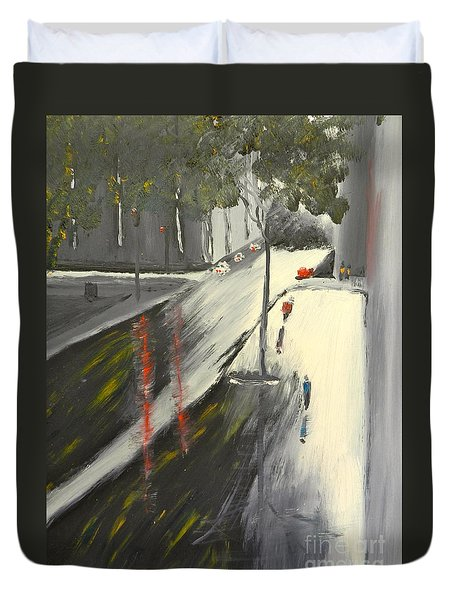 Duvet Cover featuring the painting Rainy Street In Melbourne by Pamela  Meredith