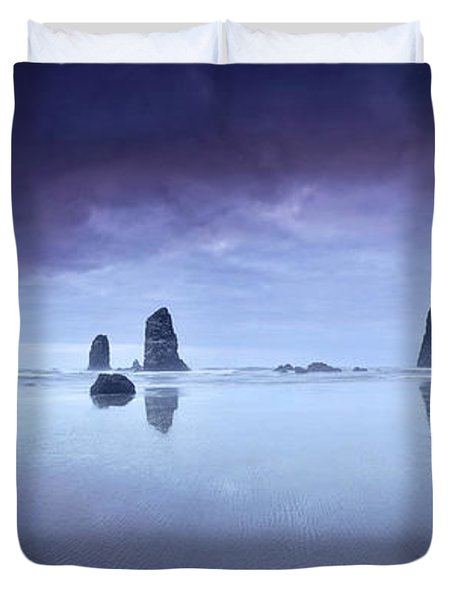 Rainy Sunset Over Cannon Beach Duvet Cover