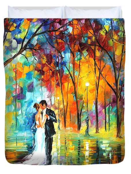 Rainy Wedding - Palette Knife Oil Painting On Canvas By Leonid Afremov Duvet Cover